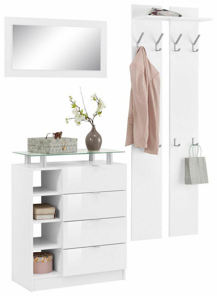 borchardt m bel garderoben set dolly 3 tlg mit metallgriffen und hochglanzfronten online. Black Bedroom Furniture Sets. Home Design Ideas
