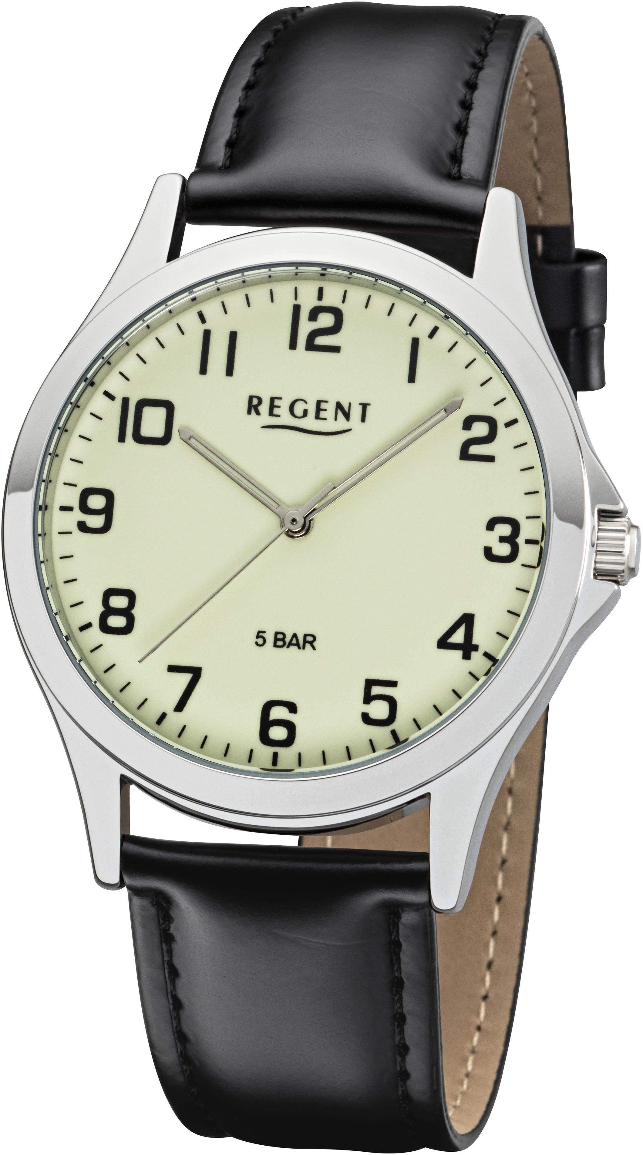 Regent Quarzuhr »11110757«, mit Leuchtblatt/- zeiger