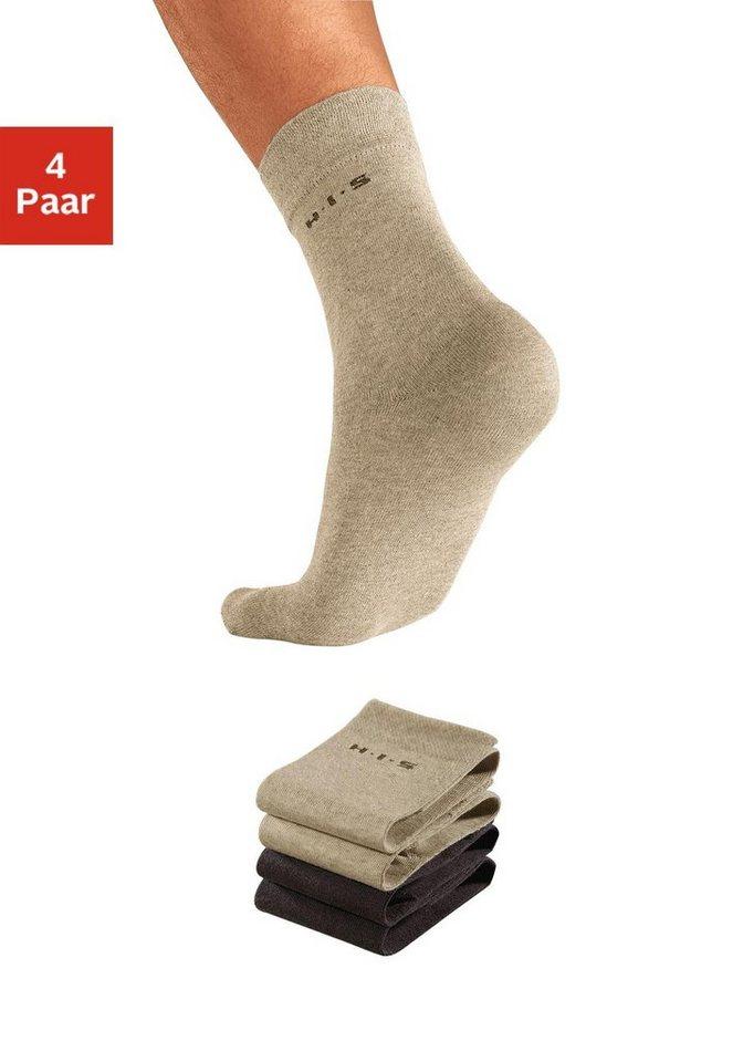 H.I.S Socken (4 Paar) mit druckfreiem Bündchen in 2x braun + 2x beige