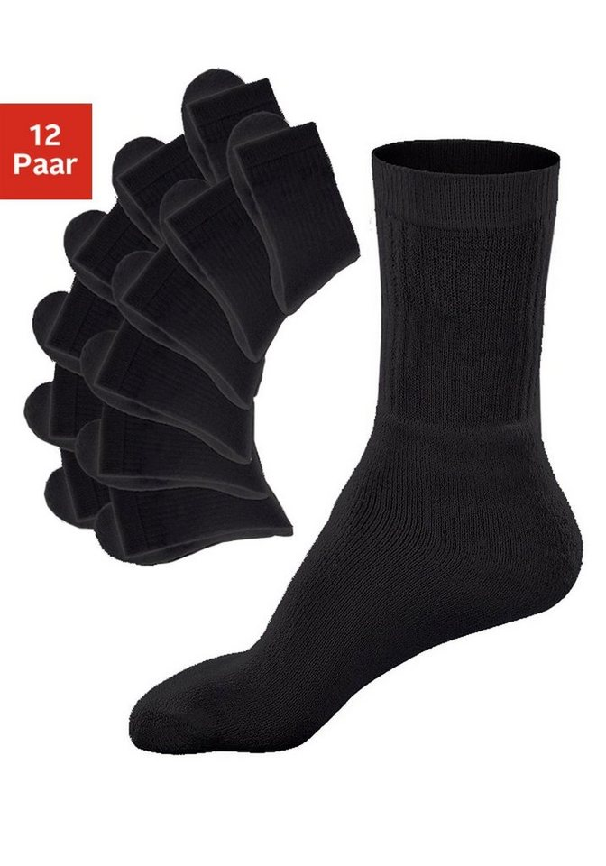GO IN Basic-Sportsocken (12 Paar) mit Frottee in 12x schwarz uni