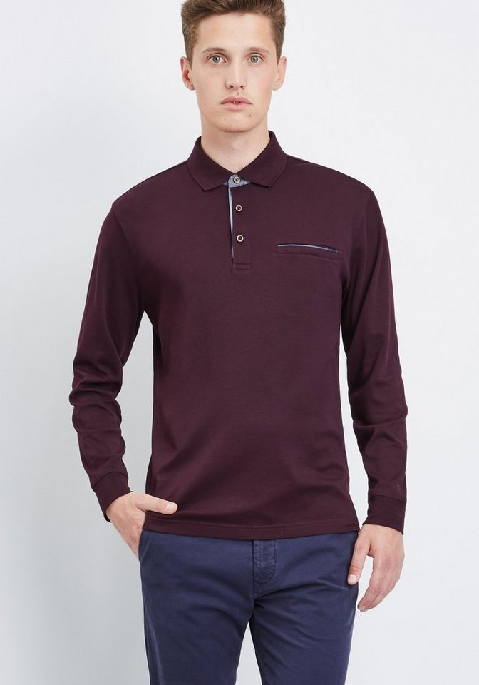 PIERRE CARDIN Poloshirt Interlock in lila