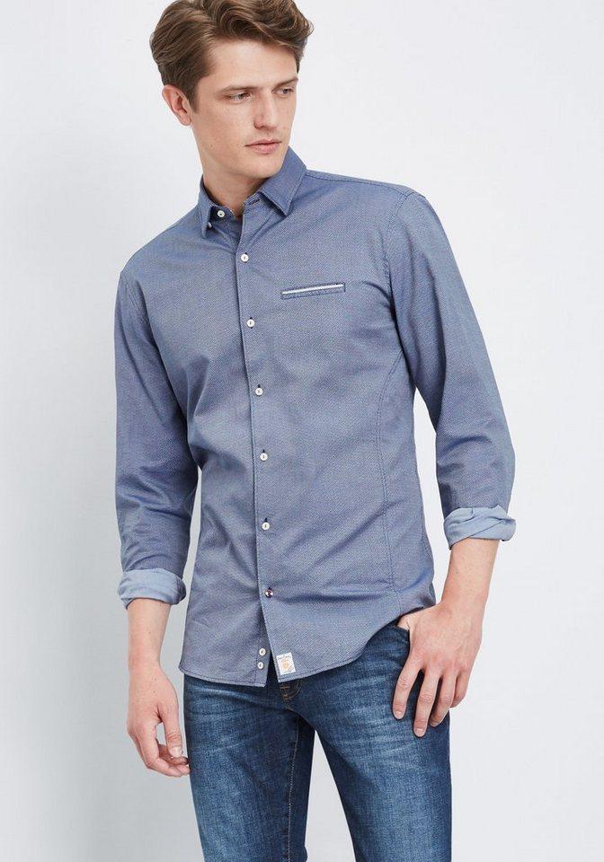 PIERRE CARDIN Hemd mit Rautenprint in dunkelblau