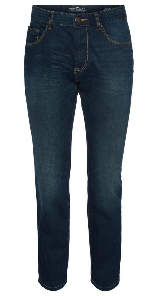 TOM TAILOR Jeans »Used-Jeans mit Crinkles« in blue denim green cas