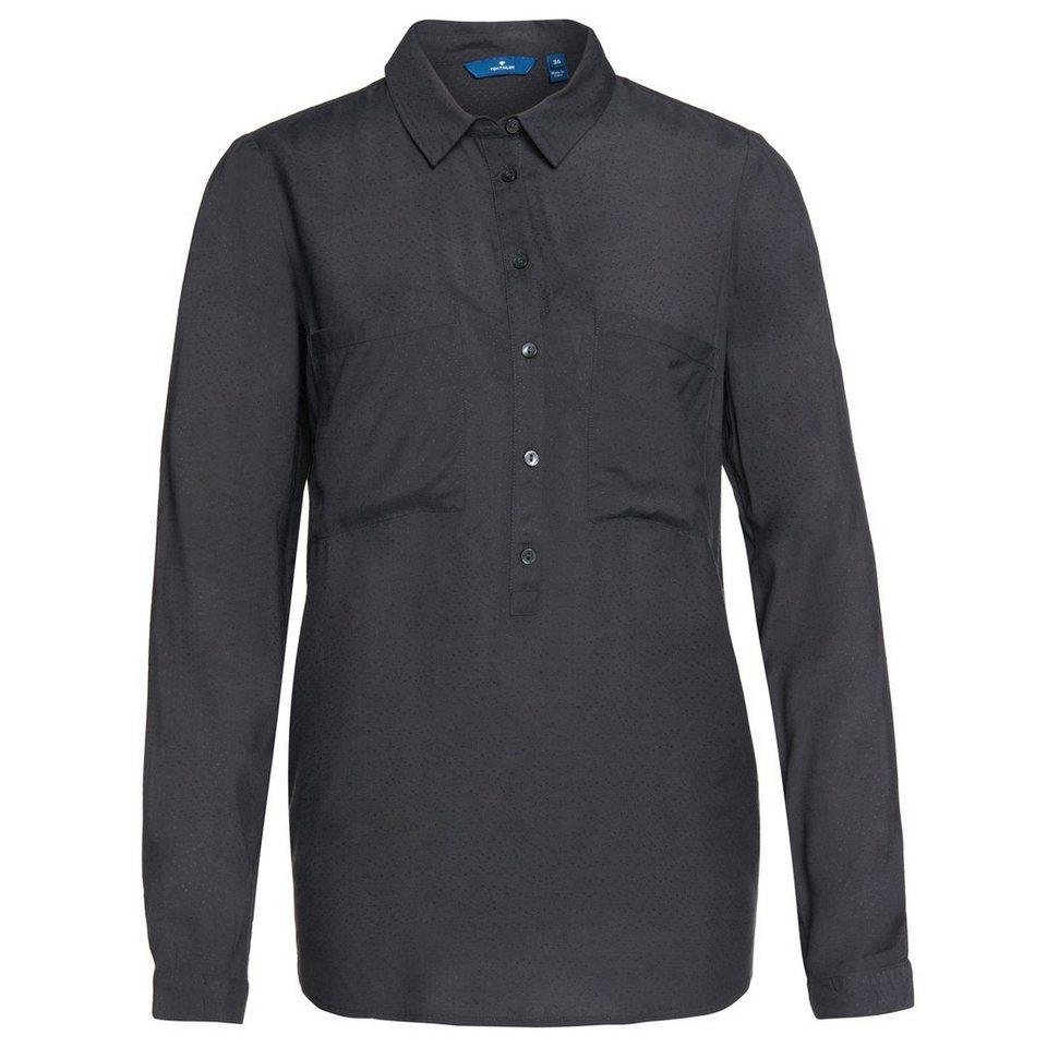 TOM TAILOR Bluse »fein strukturierte Bluse« in Coal Grey