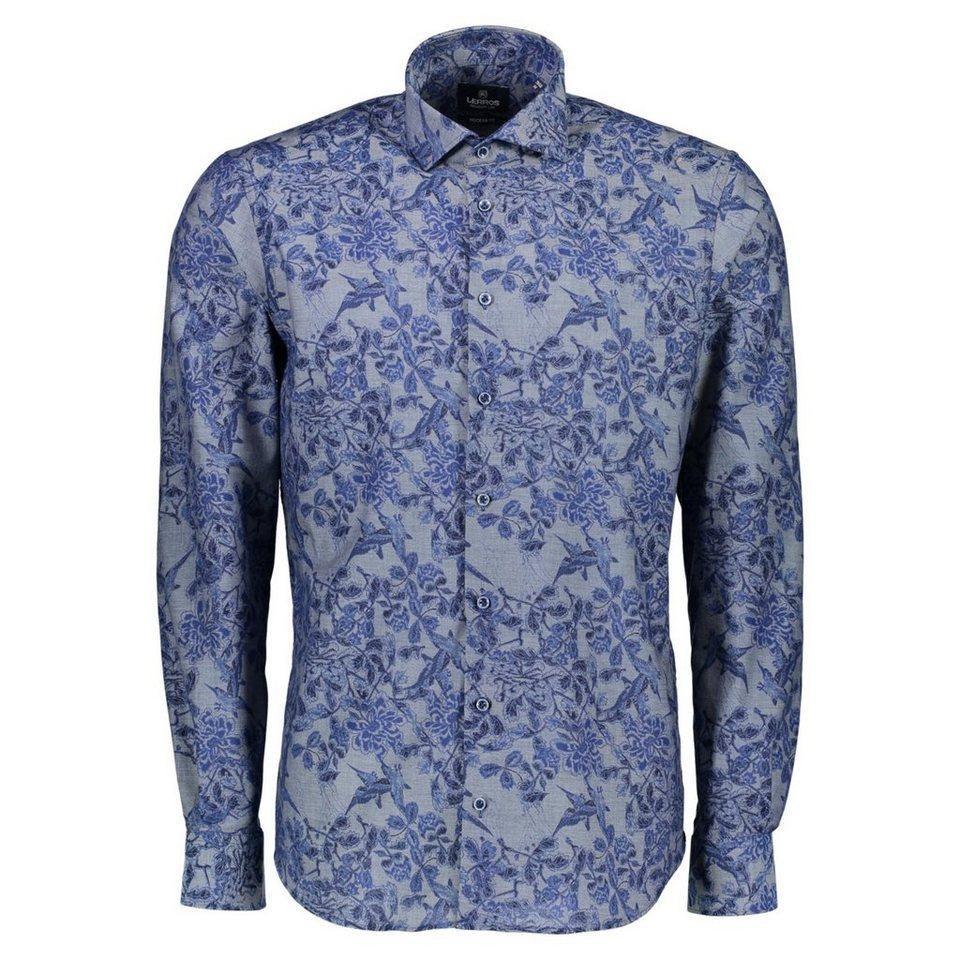 LERROS Premium Hemd mit floralem All-Over-Print in MIDNIGHT NAVY
