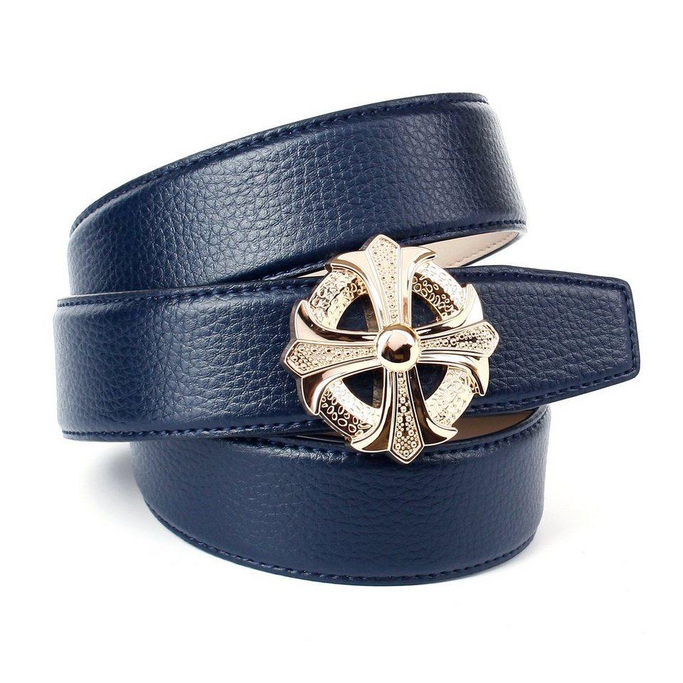 Anthoni Crown Ledergürtel für Jeans in Blau