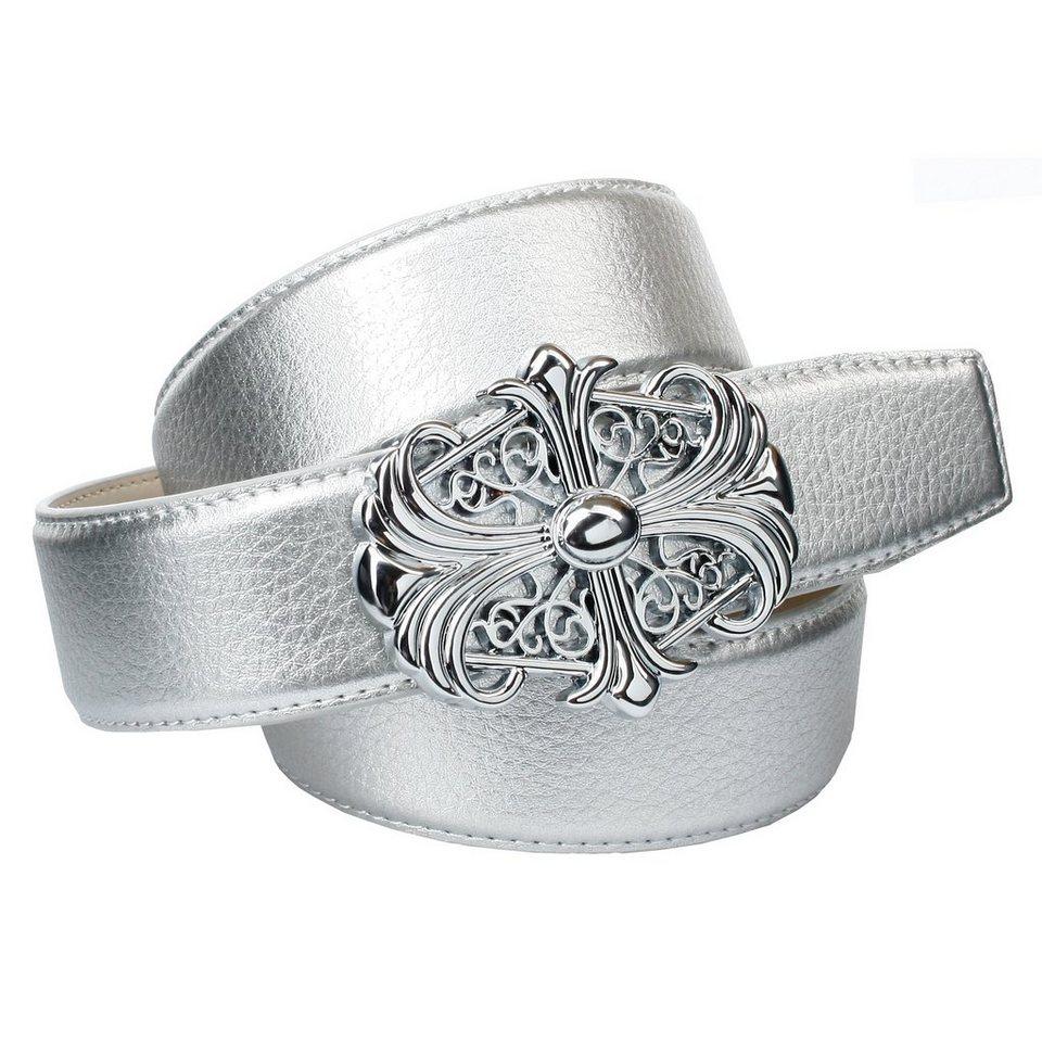 Anthoni Crown Ledergürtel mit Unterführung in Silber