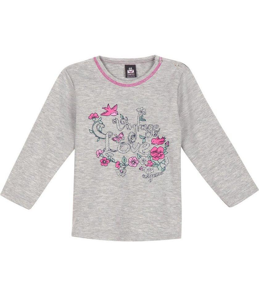 TRIGEMA Shirt Blumenprint in grau-melange