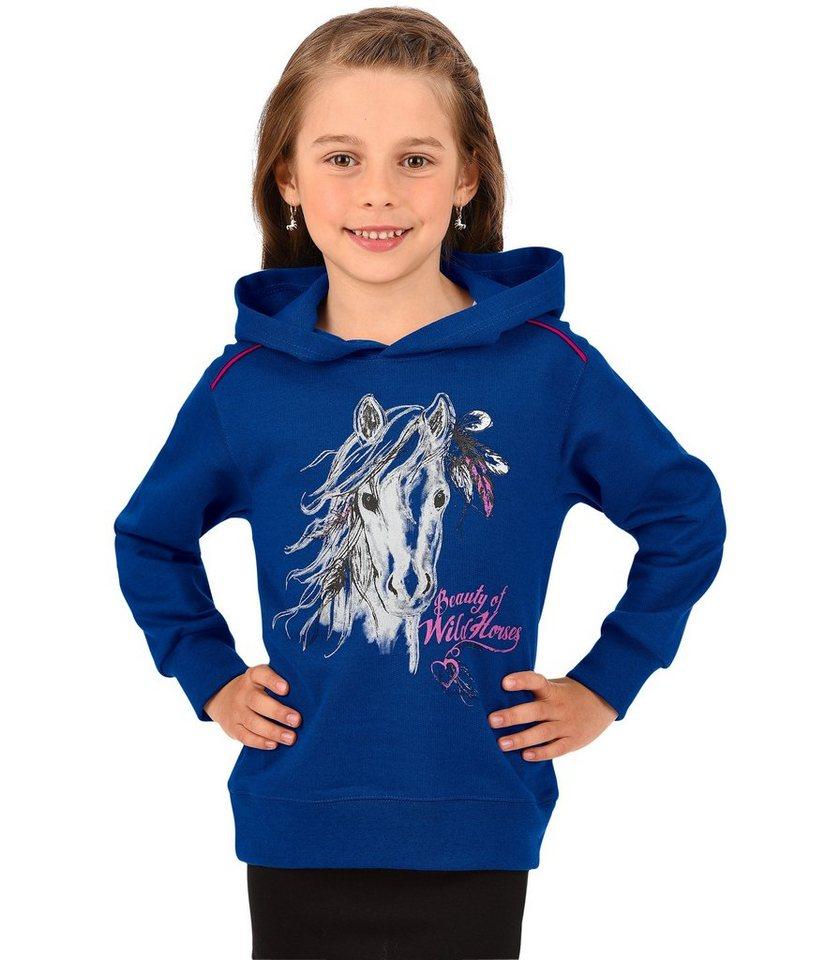 TRIGEMA Kapuzen-Sweatshirt Pferd in blau-melange