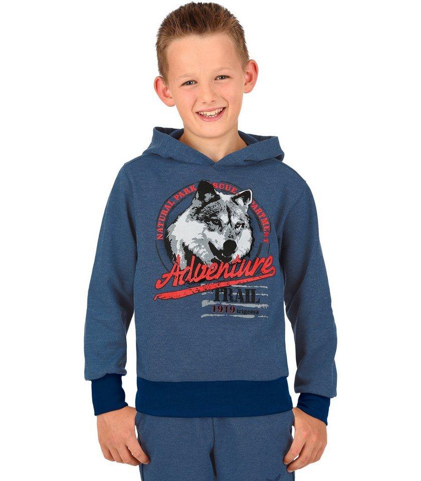 TRIGEMA Kapuzensweater Wolf in nightblue-melange