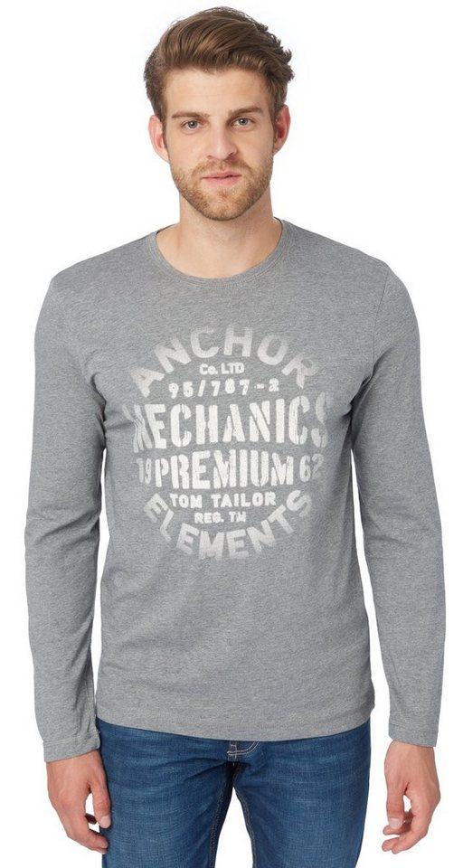 TOM TAILOR T-Shirt »Langarm-Shirt mit Print« in rock mass grey melan