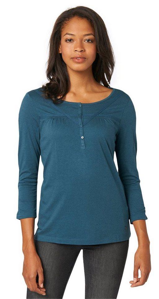 TOM TAILOR T-Shirt »feminines Henley-Shirt« in Tide petrol