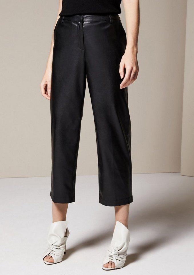 COMMA Extravagante 3/4-Bein Hose aus Fake-Leder in black