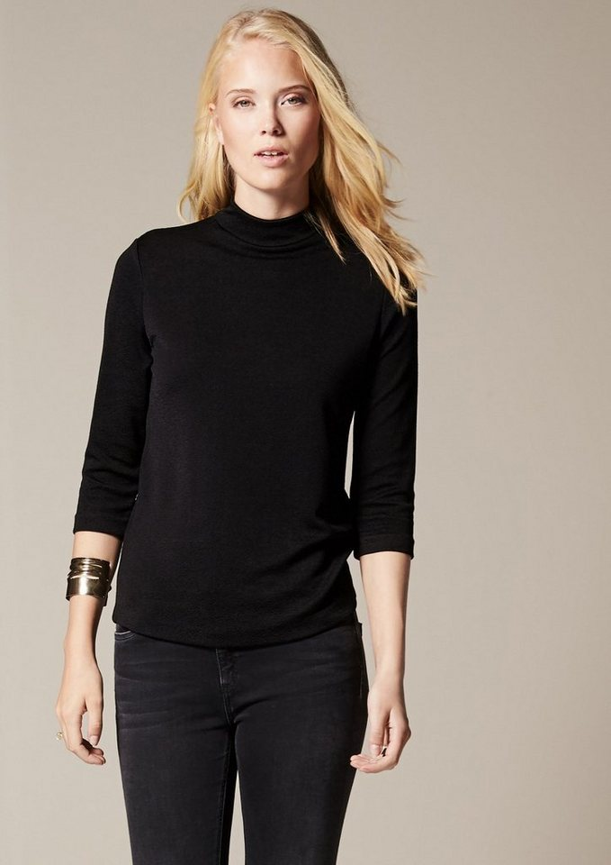 COMMA Elegantes 3/4-Arm Jerseyshirt mit aufwendig gearbeiteter... in black