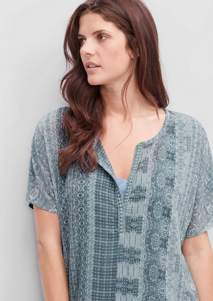 TRIANGLE Muster-Shirt mit Crêpe-Front in lime light