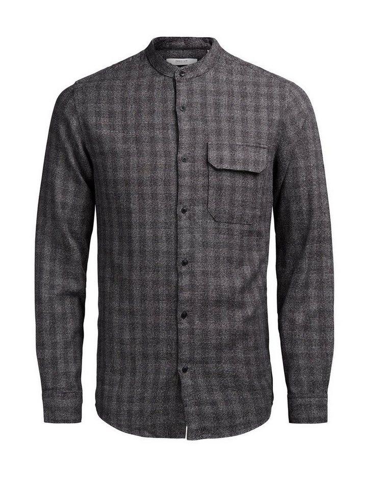 Jack & Jones Kariertes Bandkragen- Langarmhemd in Dark Grey