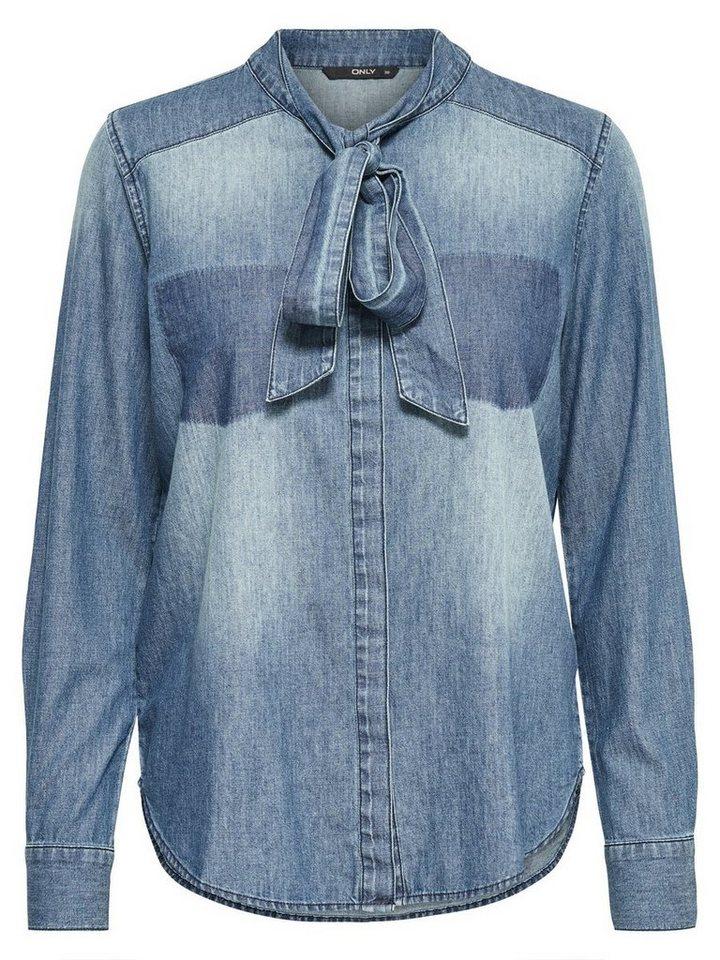 Only Schleifen- Jeanshemd in Medium Blue Denim