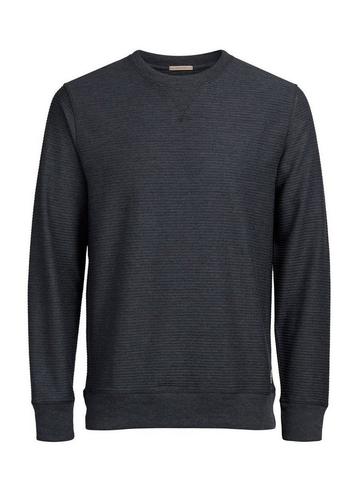 Jack & Jones Geripptes Sweatshirt in Dark Grey Melange