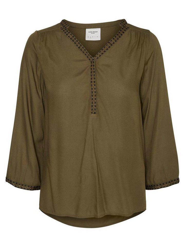 Vero Moda Feminine Bluse mit 3/4 Ärmeln in Ivy Green