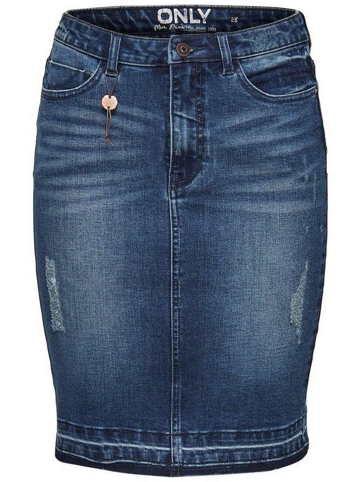 Only Bleistift- Jeansrock in Dark Blue Denim