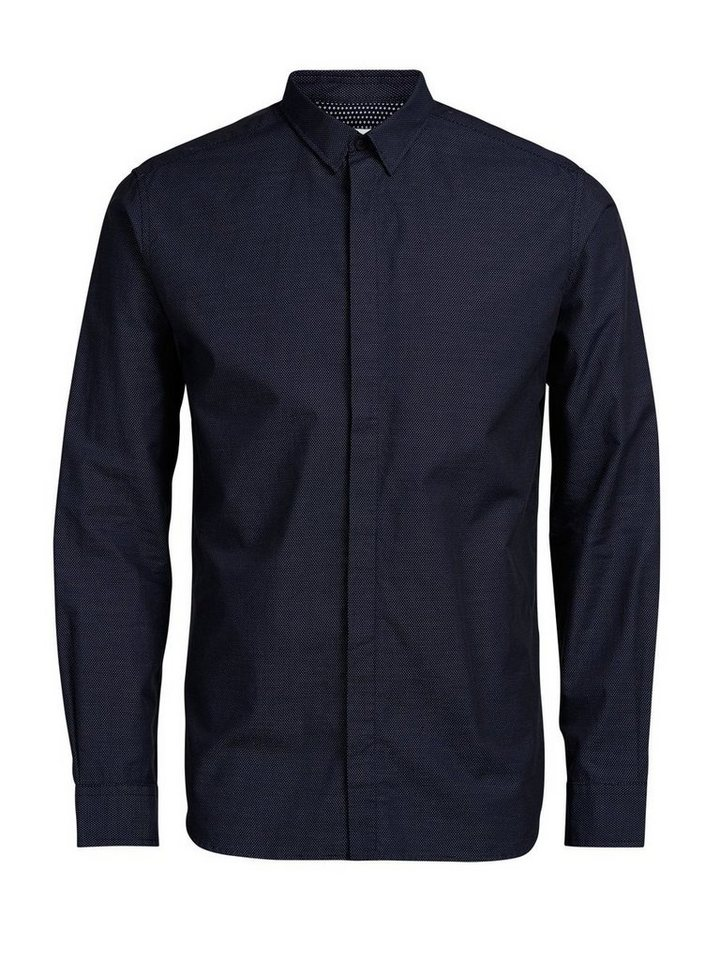 Jack & Jones Ratière-Musterdruck Businesshemd in Dark Navy