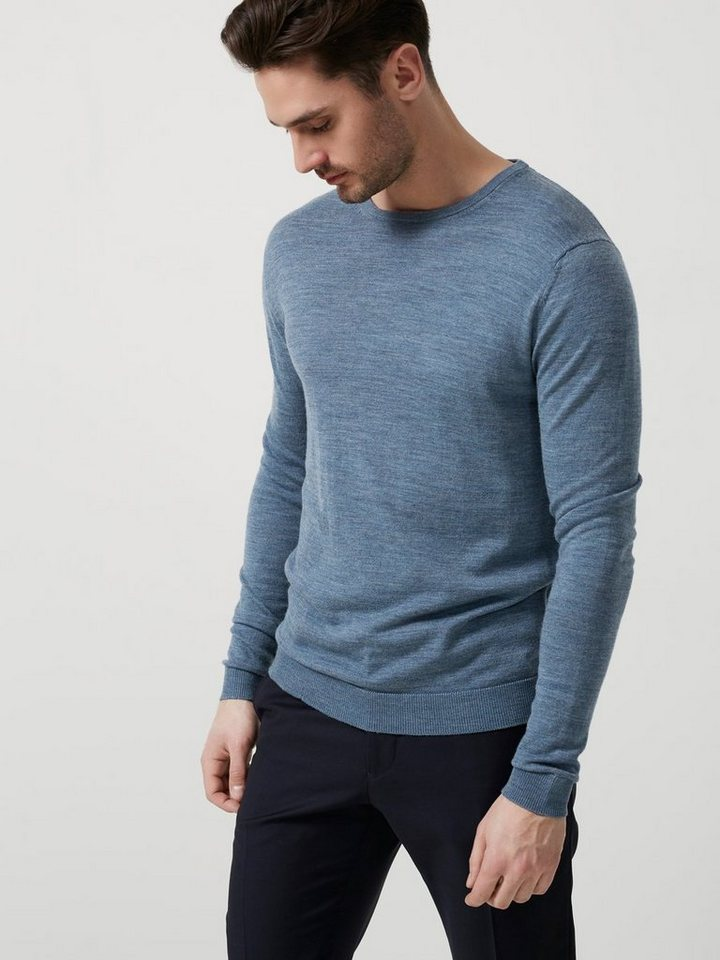 Selected Merinowoll- Strickpullover in Blue Mirage