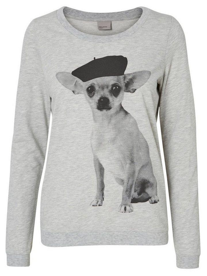 Vero Moda Bedrucktes Sweatshirt in Light Grey Melange 1