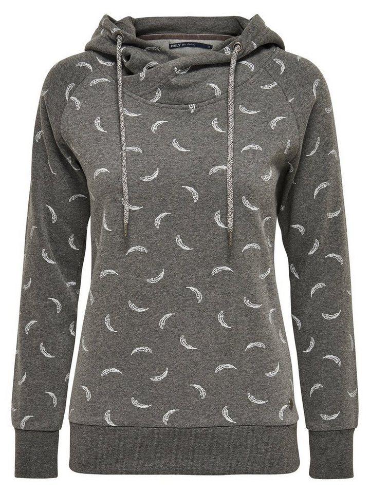 Only Bedruckter Hoodie in Dark Grey Melange