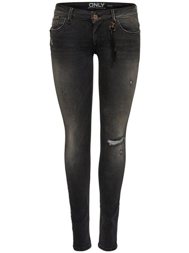 Only Coral zip Skinny Fit Jeans in Dark Grey Denim