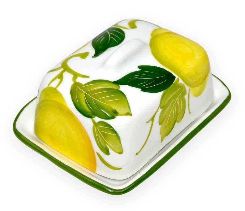 Lashuma Butterdose »Zitrone«, Keramik, Keramik Butterglocke, Butterbehälter klein 12x9 cm