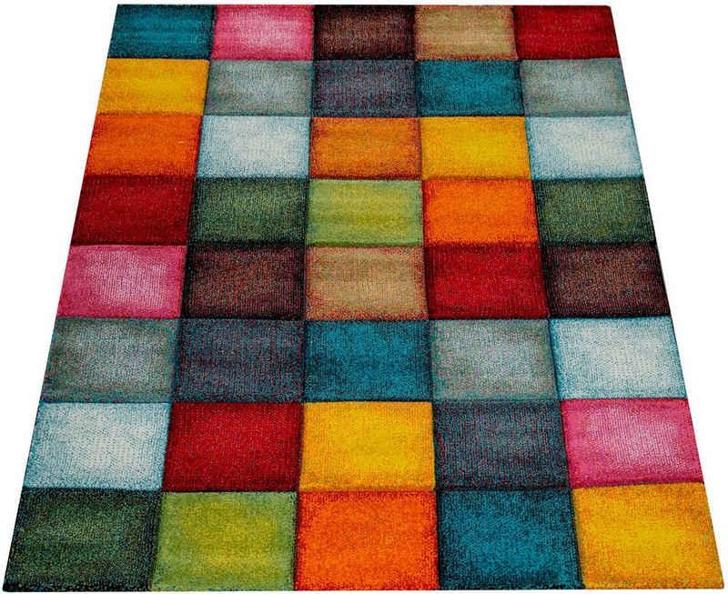 Teppich »Smaragd 753«, Paco Home, rechteckig, Höhe 18 mm, Kurzflor, gewebt, 3D-Design, mit Karo Muster, Wohnzimmer