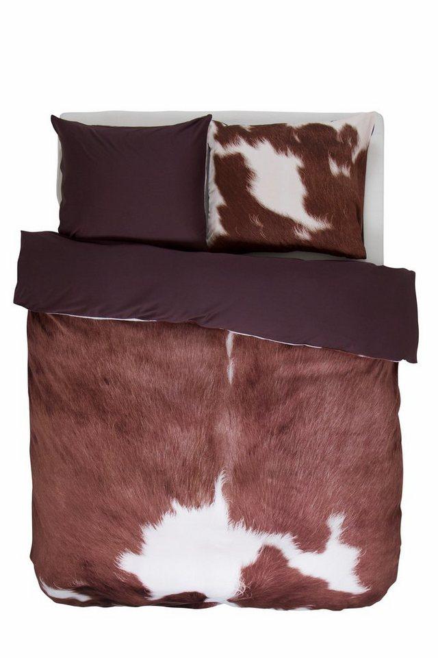 Wendebettwäsche, Essenza, »Cow«, mit Kuhfell-Muster in braun