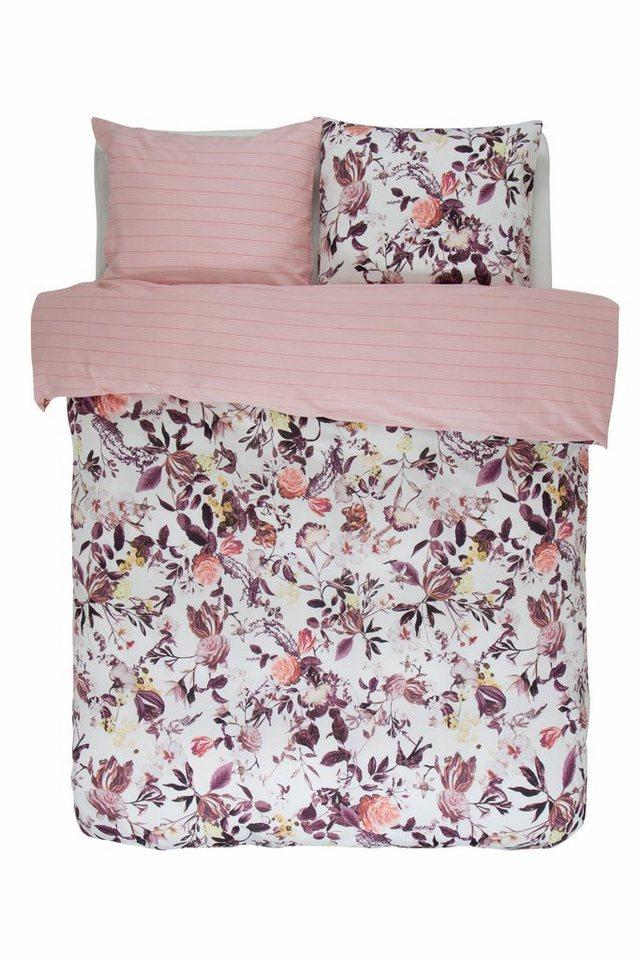 Wendebettwäsche, Essenza, »Verdi«, mit Blüten & Streifen in rosé