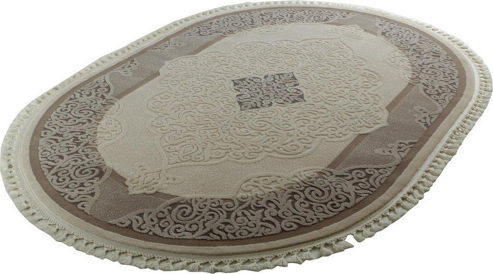 Orient-Teppich, Oval, Sanat Hali, »Delüks 6826«, gewebt in beige