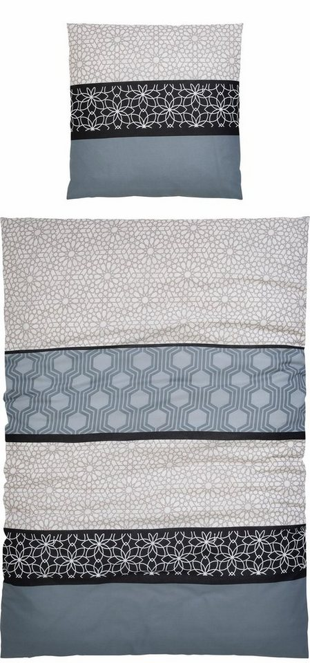 Bettwäsche, my home Selection, »Sanny«, mit feinen Mustern in grau-schwarz