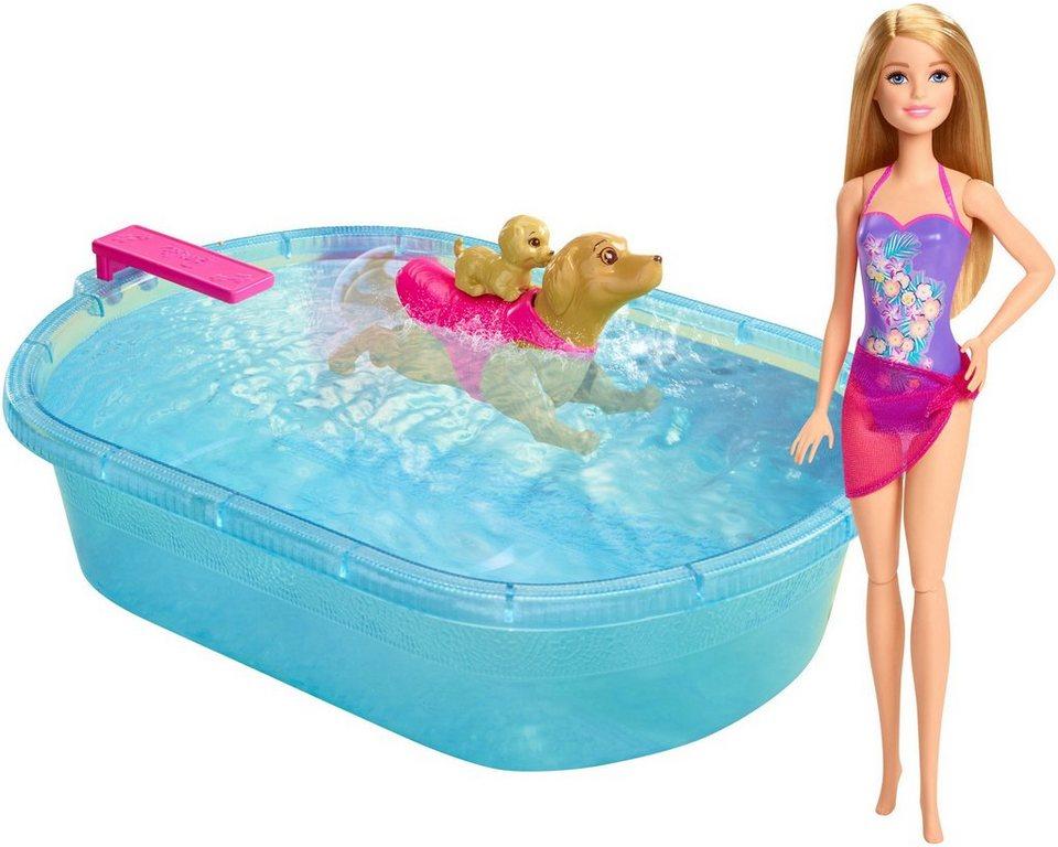 Mattel Puppen Spielset, »Barbie, Die große Hundesuche, Schwimmendes Hündchen & Pool inkl. Puppe«