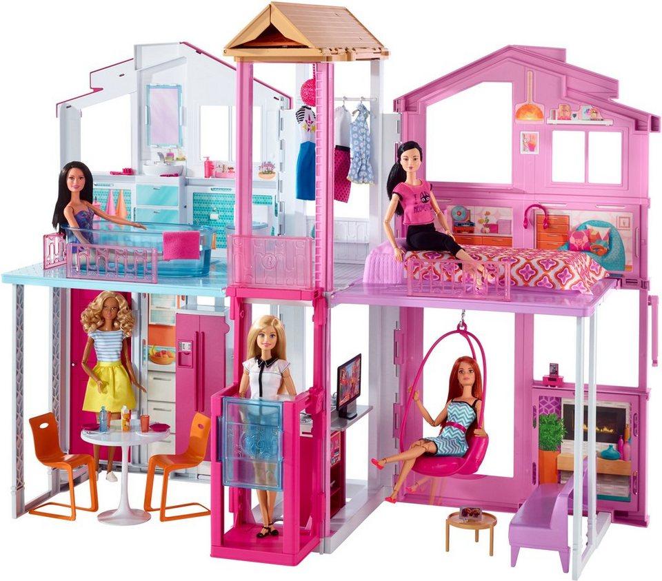 Mattel Puppenhaus mit Zubehör, »Barbie 3 Etagen Stadthaus« in bunt