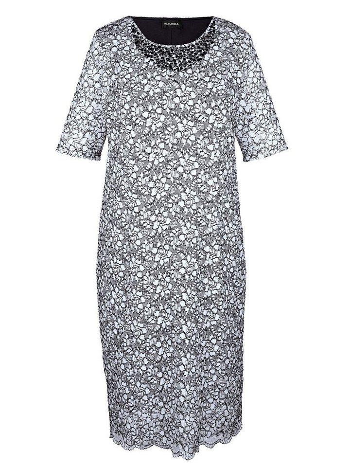 MIAMODA Kleid in eleganter Spitze in schwarz/weiß