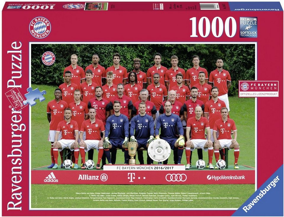 ravensburger puzzle 1000 teile fc bayern m saison 16. Black Bedroom Furniture Sets. Home Design Ideas