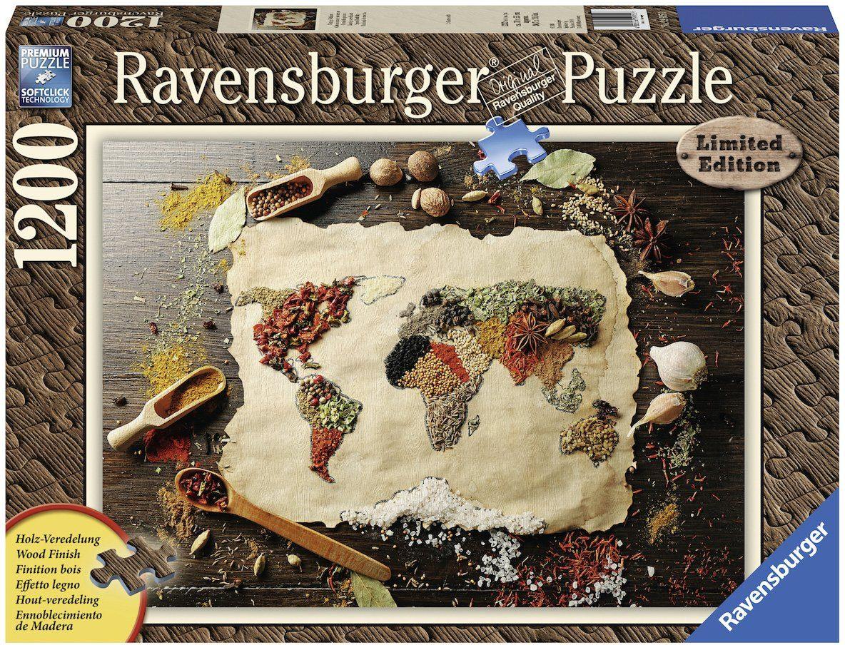 Ravensburger Puzzle, 1200 Teile, »Würzige Weltkarte«