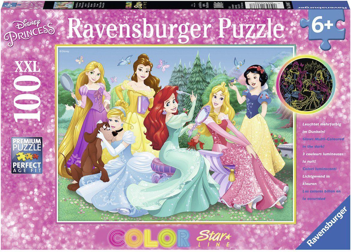 Ravensburger Puzzle, 100 XXL Teile fluoreszieren, »Color Star Line, Leuchtende Disney Prinzessinnen«