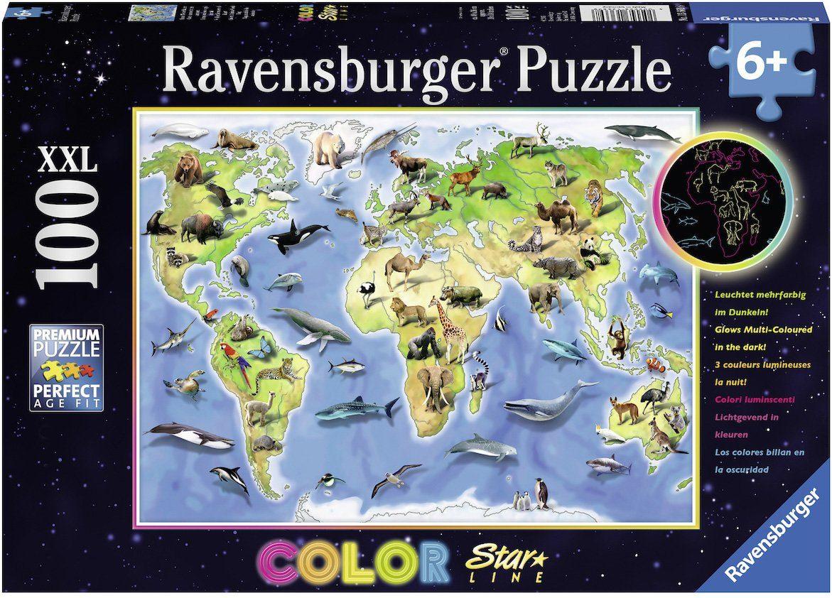 Ravensburger Puzzle, 100 XXL Teile fluoresziert im Dunkeln, »Color Star Line, Bunte Tierweltkarte«