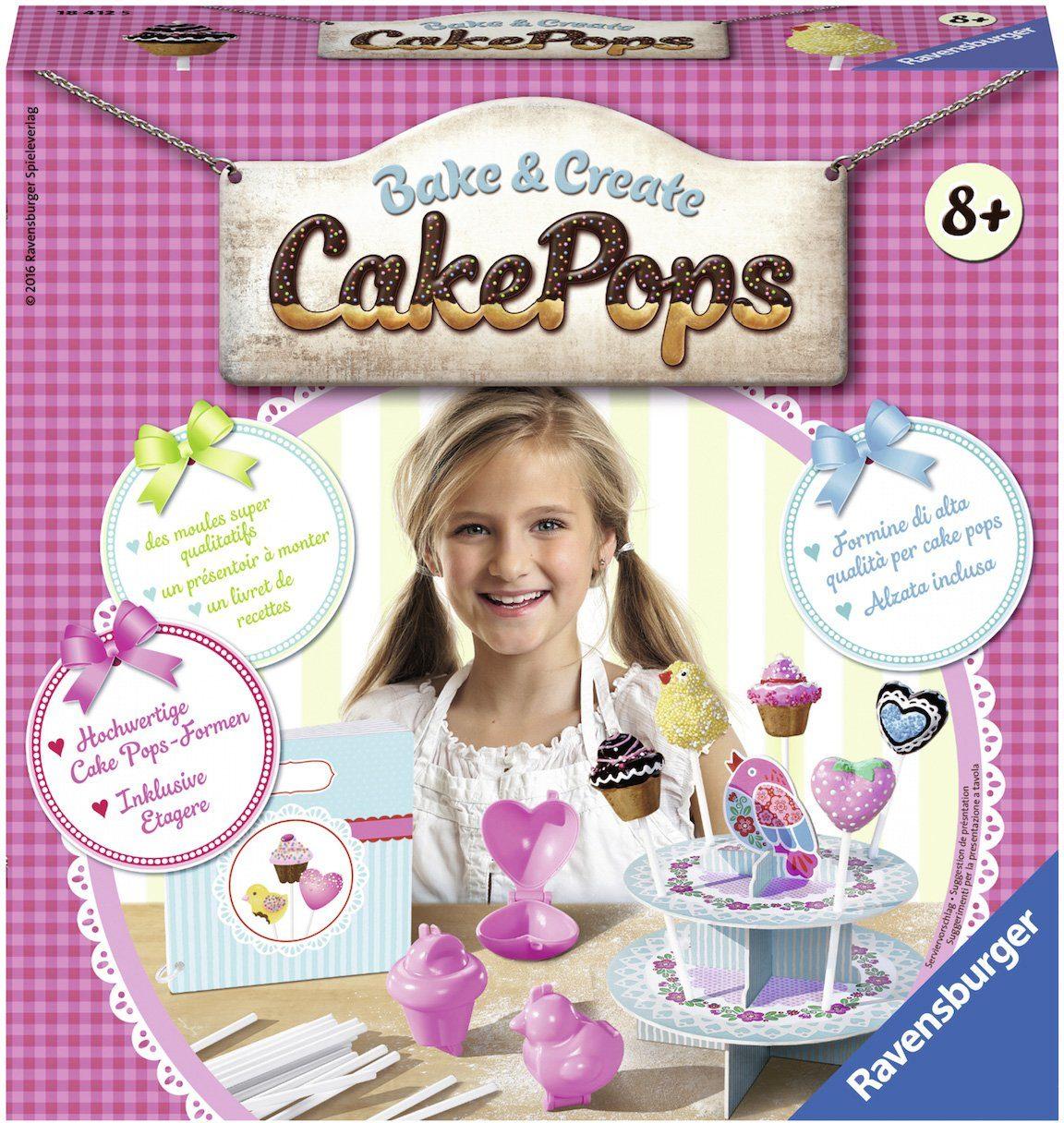 Ravensburger Set aus: Förmchen, Rezeptkarten, Etagere und 20 Stäbchen, »Bake & Create Cake Pops«
