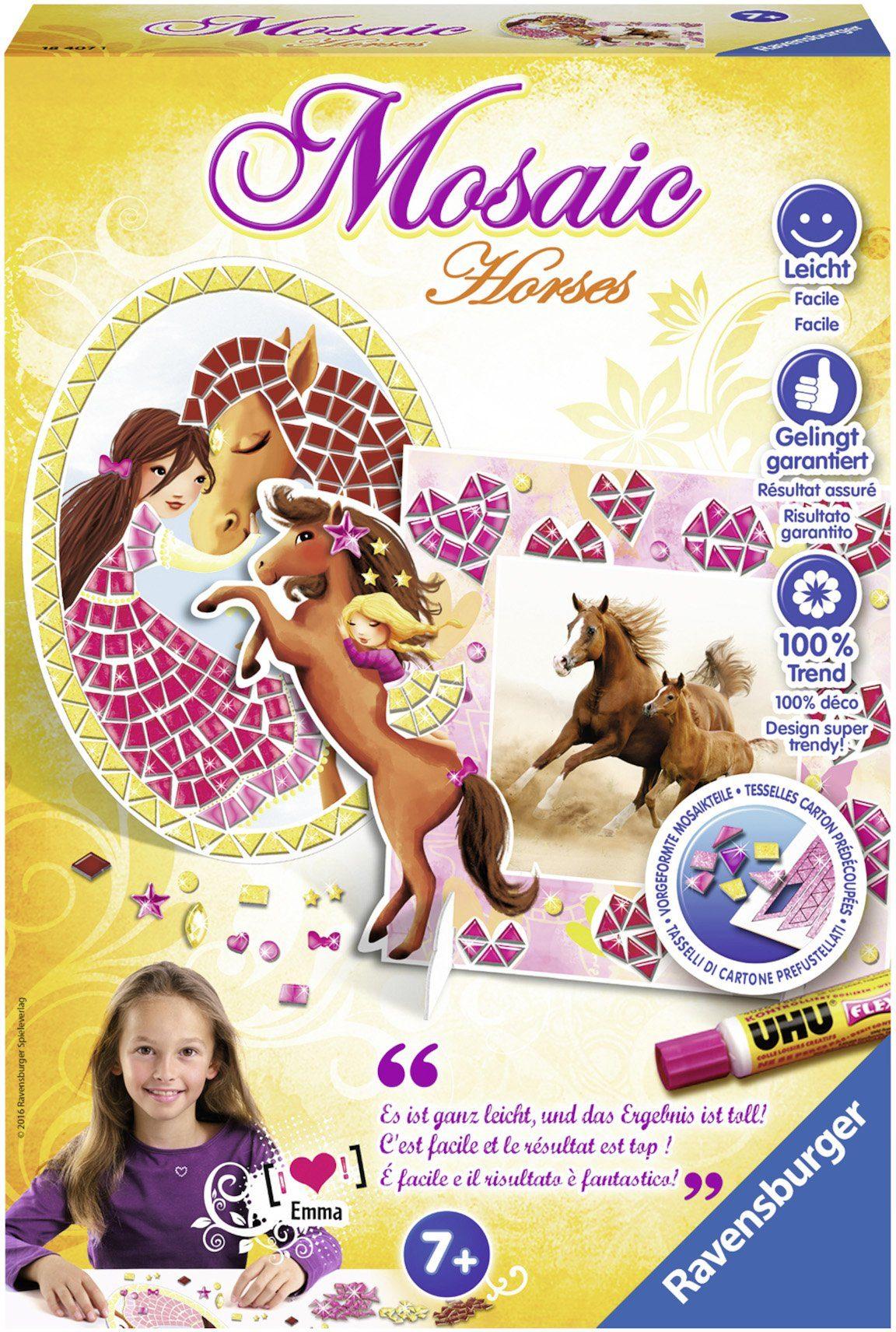 Ravensburger Set: Rahmen, Mosaikteilen, Vorlagen, Kleber, »I love Emma!, Mosaic Horses«