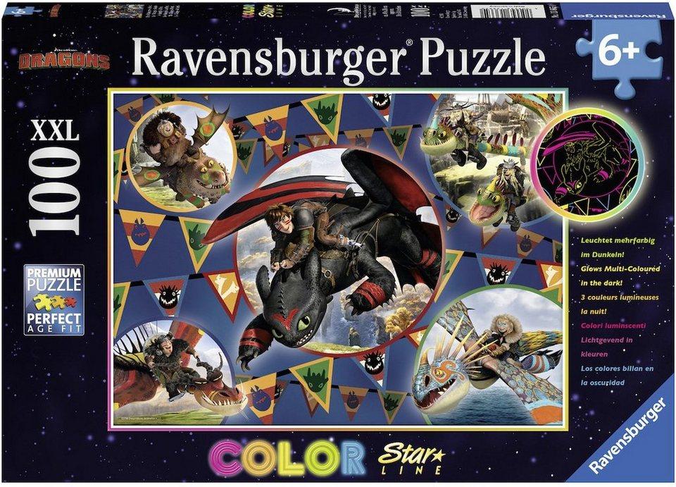 Ravensburger Puzzle, 100 XXL Teile fluoreszieren, »DreamWorks Color Star Line Die Wikinger von Berk«