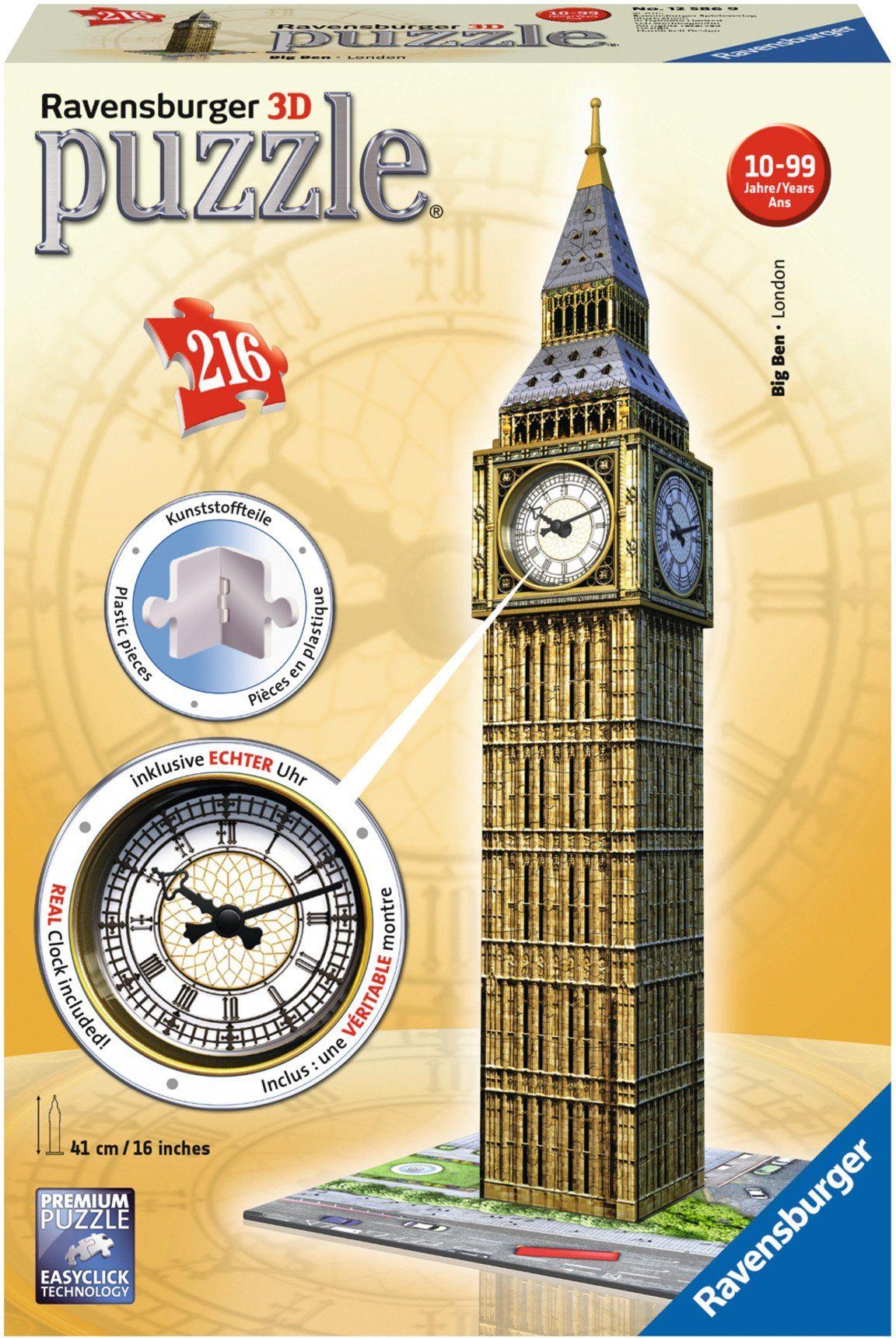 Ravensburger 3D Puzzle, 216 Teile mit Uhrwerk, »Big Ben mit Uhr«