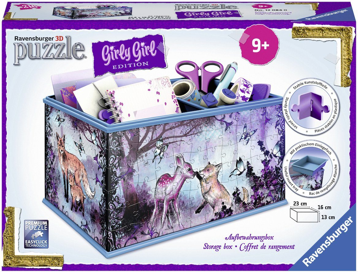 Ravensburger 3D Puzzle, 216 Teile, »Girly Girl, Aufbewahrungsbox Animal Trend«