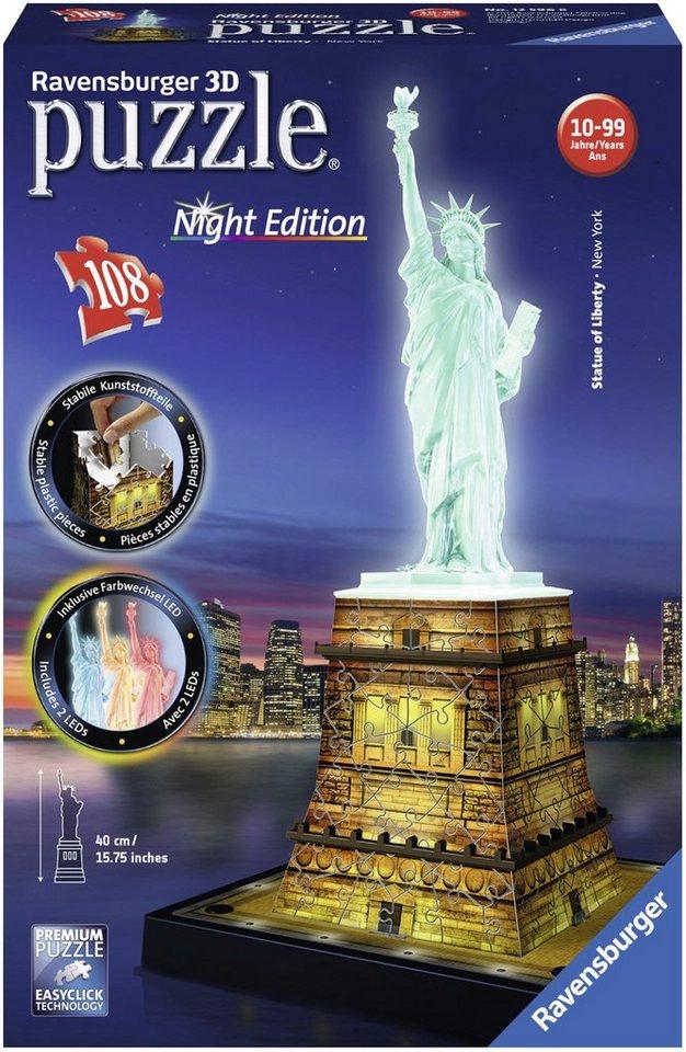 Ravensburger 3D Puzzle, 108 Teile, »Freiheitsstatue bei Nacht«