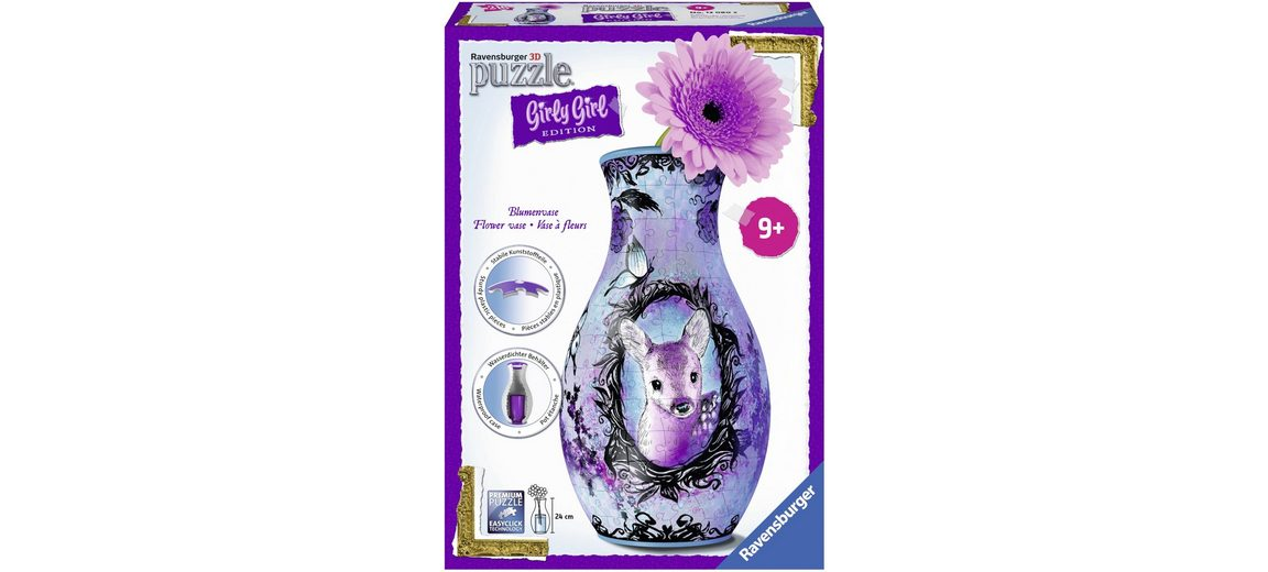 Ravensburger 3D Puzzle, 216 Teile, »Girly Girl, Blumenvase Animal Trend«