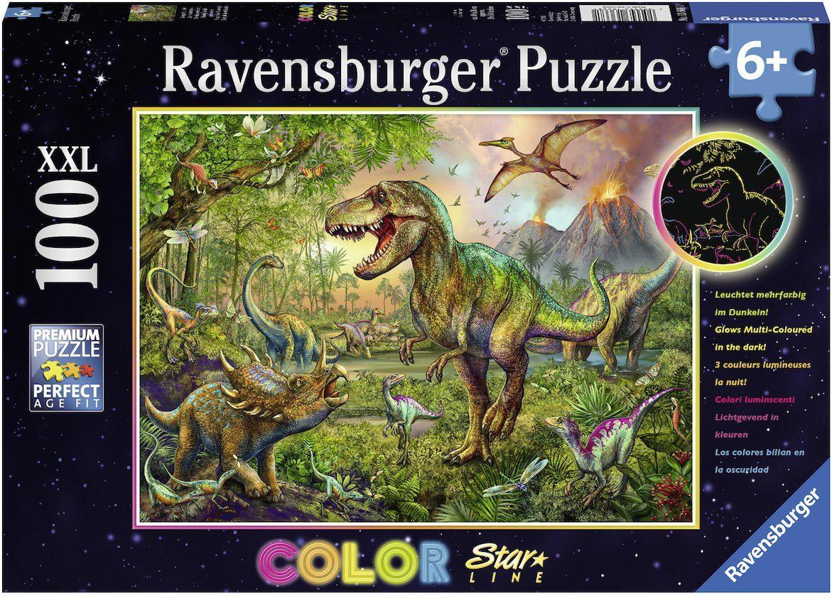 Ravensburger Puzzle, 100 XXL Teile fluoresziert im Dunkeln, »Color Star Line, König der Urzeit«